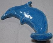 浜甲子園健康幼稚園で親子の陶芸の陶芸作品 青いフリッパ−