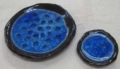 青のガラス粉 釉薬は土灰